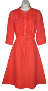 J.Crew short dress Coral Linen Belted Ruffled on Tradesy