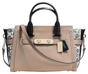 Coach Embossed Leather Colorblock Swagger Satchel in stone