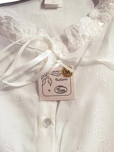 Thea Hatiana White 100% Cotton-Lace-pin tuck - RIBBON long Nightgown-M