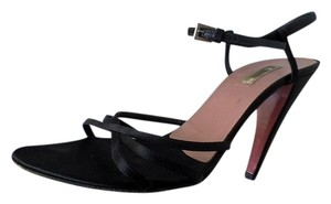 Prada Strappy Satin Ankle Strap Black Sandals