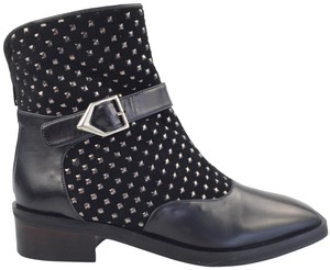 Rebeca Sanver Suede/Leather Studded Sophisticated Made In Spain Black Boots