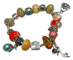 Other European Charm Bracelet W/ 18 Charms Silver J2836