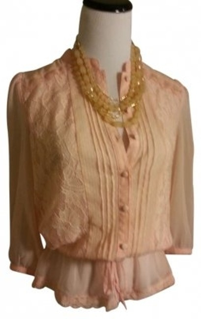 Preload https://img-static.tradesy.com/item/187818/forever-21-peach-sheer-lace-trimmed-blouse-size-4-s-0-0-650-650.jpg