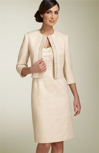 Tahari Beige And Gold Dress