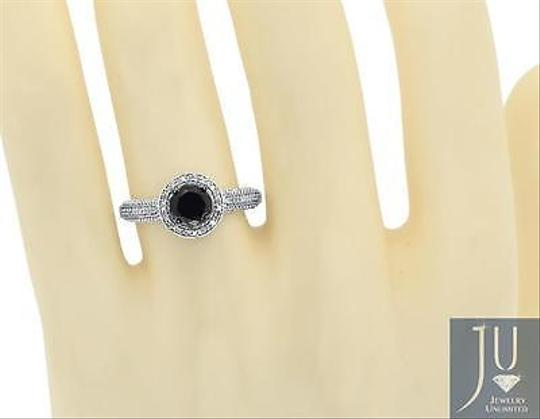 Other 10k Ladies White Gold Black Diamond Solitaire Halo Engagement Wedding Ring 1 Ct
