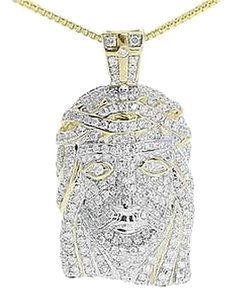 Jewelry Unlimited 10k,Yellow,Gold,Mens,Ladies,Round,Diamond,Jesus,1,Mini,Pendant,Charm,1.65,Ct