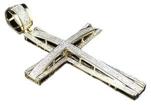 Jewelry Unlimited 10k,Yellow,Gold,Xl,Pave,Genuine,White,Diamond,Cross,Pendant,Charm,2.75,1.55ct