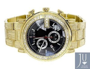 Gucci Custom Mens Gold Pvd 101 G Real Mm Full Diamond Gucci Ya101334 Watch Ct
