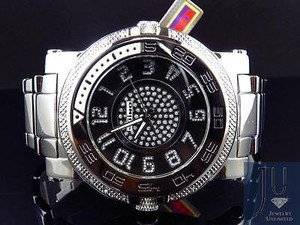 Other Mens Jojojojino Big Face Stainless Steel Mm 0.25 Ct Diamond Watch Mj-1229