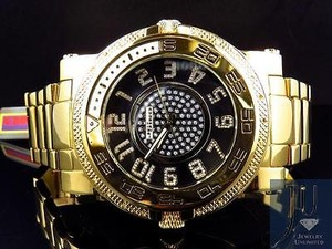 Other Mens Jojojojino Big Face Stainless Steel Mm 0.25 Ct Diamond Watch Mj-1226
