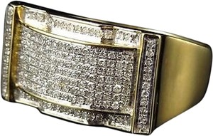 Jewelry Unlimited Men,10k,Yellow,Gold,Round,Genuine,White,Diamond,Linear,Style,Ring,22mm,.50ct
