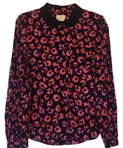 Kate Spade Button Down Shirt Black with pink and red