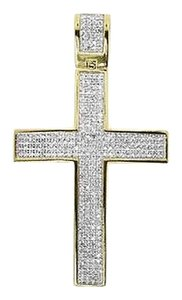 Jewelry Unlimited Yellow,Gold,Finish,Mens,2,Round,Pave,Diamond,Cross,Pendant,Charm,1.25,Ct