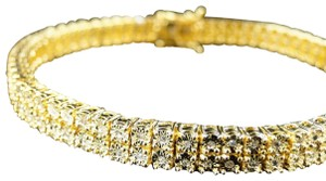 Jewelry Unlimited 2 Row Diamonds On Yellow Gold Finish Bracelet 8 Inches - item med img