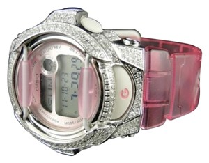 Casio G-shock Pink Baby G Womens White Simulated Diamond Watch