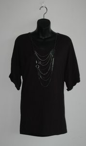 Vince Loose Fit Chain Necklace Top Black