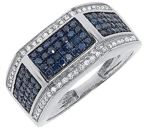 Jewelry Unlimited 10k,White,Gold,Mens,Blue,White,Pave,Diamond,11mm,Fashion,Wedding,Band,Ring,1,Ct