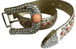 Other White rhinestone pink stone western cowgirl belt medium