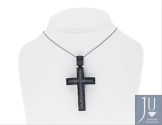 Jewelry Unlimited Mens,2,Round,Diamond,Stainless,Steel,Pvd,Finish,Cross,Pendant,Charm,1.14,Ct
