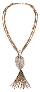 Lulu Frost New! Lulu Frost Art Deco Feather Pendant Tassel Necklace