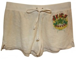 Juicy Couture Velour Drawstring Waist Mini/Short Shorts ivory