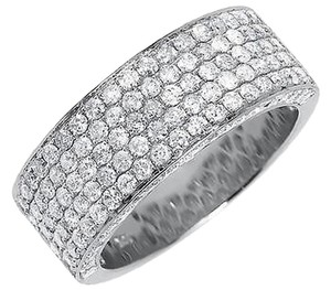 Jewelry Unlimited 10k,White,Gold,Mens,3d,Round,Pave,Diamond,9mm,Wedding,Band,Ring,3,Ct