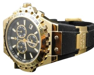Aqua Master Jojo Joe Rodeo Gold Rubber Swiss Signature Diamond Watch Mm
