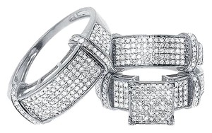 Jewelry Unlimited 10k White Gold Mens Ladies Round Pave Diamond Wedding Trio Ring Set 1.28 Ct