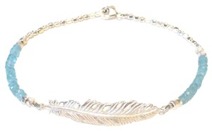 Catherine Weitzman Catherine Weitzman Apatite Beaded and Silver Feather Bracelet