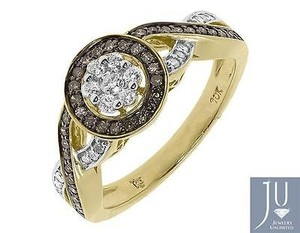 10k Yellow Gold Round Brown White Diamond Halo Engagement Fashion Ring 0.47 Ct