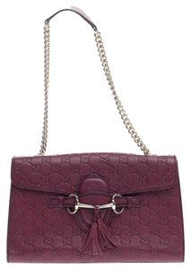 Gucci Leather Satchel in Maroon
