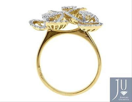 Other 18k Yellow Gold Ladies Round Diamond Wire Flower Fashion Cocktail Ring 1.09 Ct