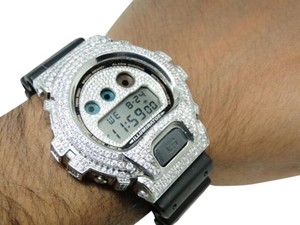 Casio Casio Mens G Shock 6900 White Gold Finish White Simulated Diamond Watch Ct