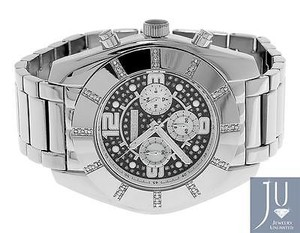 Other Mens Jojojojino Big Face Stainless Steel Mm 0.25 Ct Diamond Watch Mj-1217