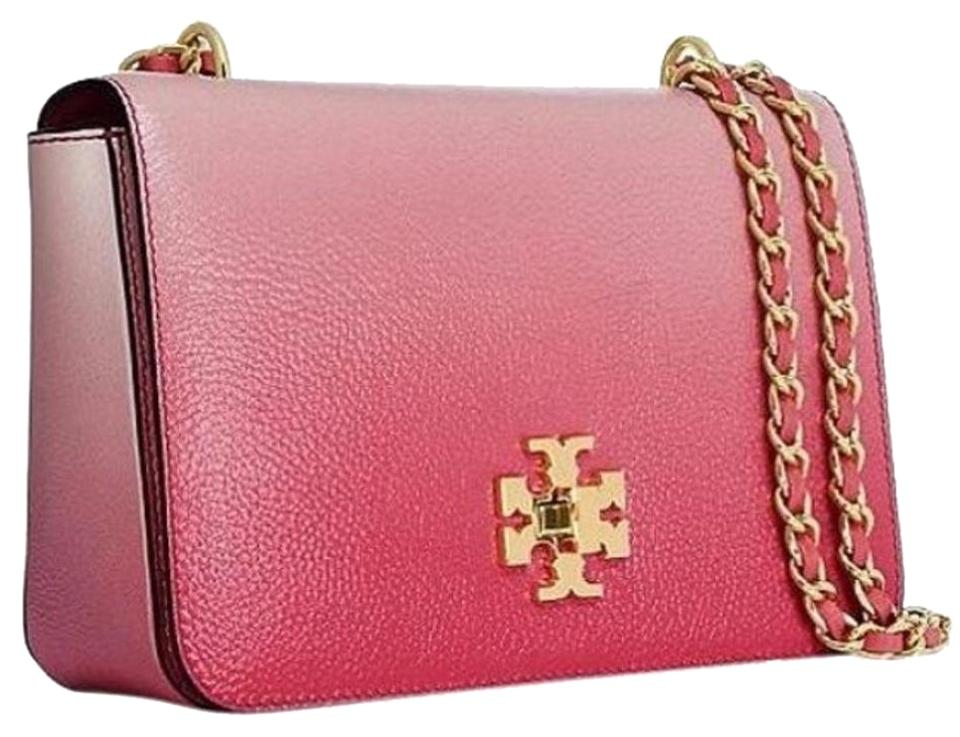 0952d5cf19ac Tory Burch Mercer Degrade Adjustable Spiced Coral Gold Logo Cross ...