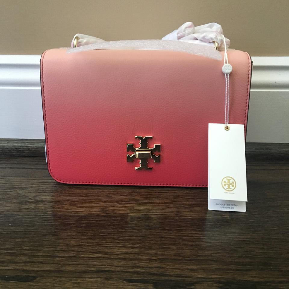 79b3ba251237 Tory Burch Mercer Degrade Adjustable Spiced Coral Gold Logo Cross Body Bag  - Tradesy
