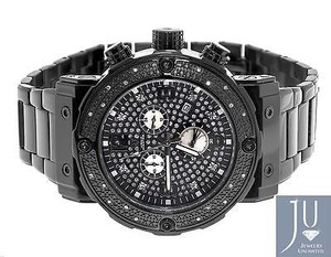 Mens Aqua Master Jojino W146 84-3 Black Stainless Steel Diamond Watch 0.25 Ct