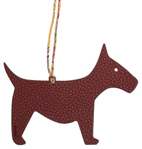 Hermès Hermes Bi-color Rouge H and White Petit H Dog Leather Bag Charm