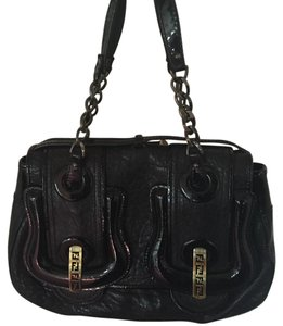 Fendi Patent Leather Lamb Satchel in black