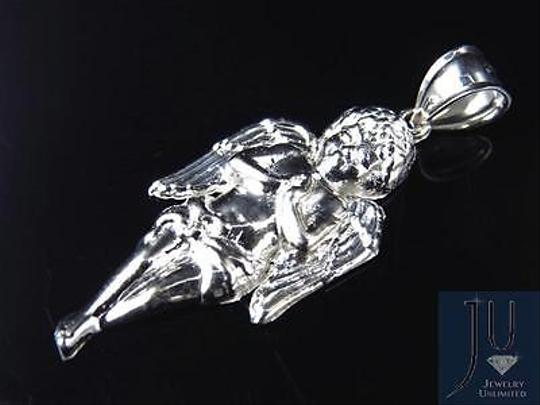 Other Mens Ladies Custom 10k White Gold Sculpted Mini Praying Angel Pendant 1.50