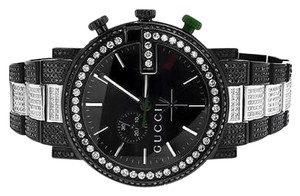Gucci Custom Mens Black Pvd 101 G Real Mm Full Diamond Gucci Ya101331 Watch Ct