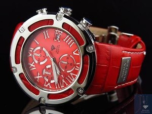 Mens Aqua Master El Russo W346 Red Stainless Steel Genuine Diamond Watch 0.20ct