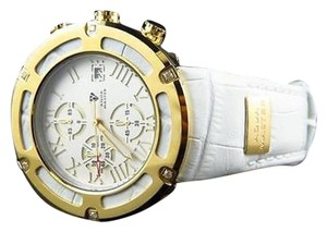 Mens Aqua Master El Russo W346 Gold Stainless Steel White Diamond Watch 0.20 Ct