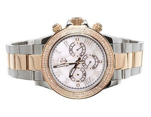 Techno Com by KC Mens Ladies Two Tone Stainless Steel 41mm Techno Com Kc Daytona Diamond Watch