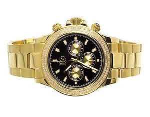 Techno Com by KC Mens Ladies Yellow Stainless Steel 41mm Techno Com Kc Daytona Diamond Watch 1ct