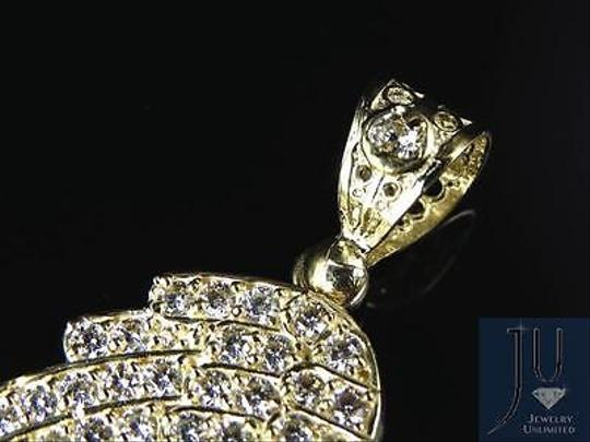 Other Mens 10k Yellow Gold Simulated Diamond Single Angel Wing Pendant Charm 2.25