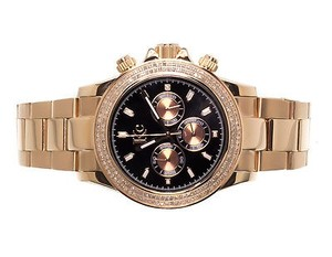 Techno Com by KC Mens Ladies Rose Stainless Steel 41mm Techno Com Kc Daytona Diamond Watch 1ct