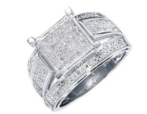 White Gold Finish Ladies Round Pave Diamond Engagement Fashion Ring 0.65 Ct
