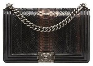 Chanel Le Boy Python Patent Leather Shoulder Bag