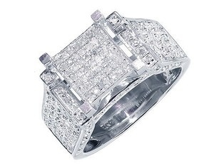 Other White Gold Finish Ladies Round Pave Diamond Engagement Fashion Ring 1 Ct